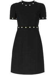Gucci Bead Embellished Fitted Dress Black
