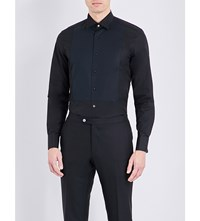 Corneliani Bib Front Cotton Poplin Shirt Black