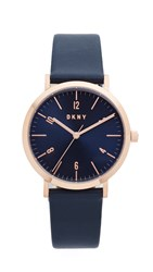 Dkny Minetta Leather Watch Blue Rose Gold