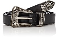 Saint Laurent Women's Leather Skinny Western Belt Black