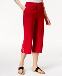 Karen Scott Drawstring Capris Only At Macy's New Red Amore