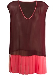 Twin Set Sleeveless Colour Block Blouse Red
