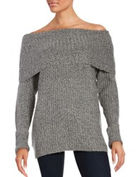 Design Lab Lord And Taylor Off The Shoulder Ribbed Knit Sweater Grey Twist