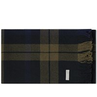 Mhl By Margaret Howell Black Watch Scarf Green