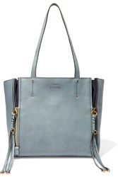 Chloe Milo Suede Trimmed Leather Tote Gray Green