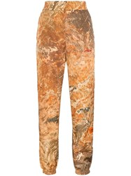 Heron Preston High Waisted Camo Print Track Pants Neutrals