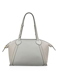 Anne Klein Lucille Zip Leather Tote Gray Gold