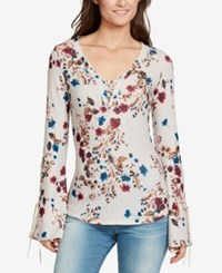 William Rast Bell Sleeve Thermal Top Winsome Orchid Bohmian Field