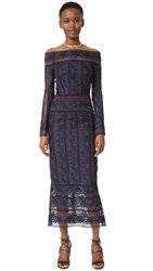 Yigal Azrouel Rose Embroidered Lace Midi Dress Jet Multi