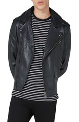 Topman Men's Leather Biker Jacket Black