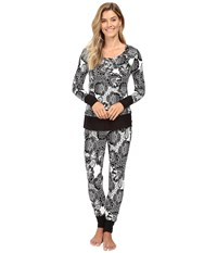 Josie Fireside Henley Pj Black White Women's Pajama Sets