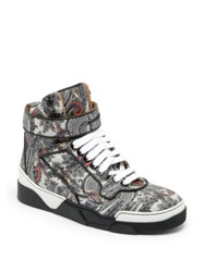 Givenchy Tyson Paisley Leather High Top Sneakers Grey Multi