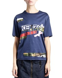 Kenzo Cotton Jersey Camo Tee Dark Blue