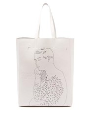 Calvin Klein 205W39nyc X Andy Warhol Leather Tote Bag White