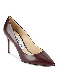 Jimmy Choo Point Toe Leather Pumps Dark Red