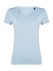 Gant Sunbleached V Neck Short Sleeve T Shirt Light Blue