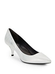 Kenneth Cole Pearl Metallic Leather Kitten Heel Point Toe Pumps Silver