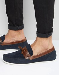 Red Tape Loafers In Navy Suede Blue