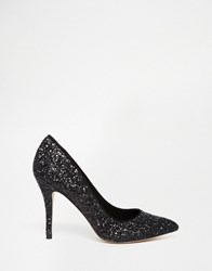 Little Mistress Astaire Black Glitter Heeled Court Shoe Black