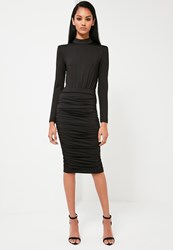 Missguided Black Ruched Midi Skirt