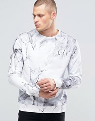 Religion Sweatshirt With All Over Marble Print White