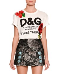 Dolce And Gabbana I Was There Logo Print T Shirt White