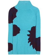 Etro Wool And Cashmere Turtleneck Sweater Turquoise