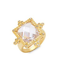 Freida Rothman Classic Cz And 14K Gold Plated Sterling Silver Square Cocktail Ring
