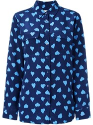 Equipment Heart Print Shirt Blue