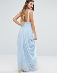 Vila Ruched Maxi Dress Blue