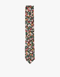 The Hill Side Standard Pointed Tie Small Flower Print Black