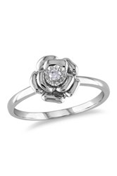 Sterling Silver Diamond Flower Ring 0.05 Ctw Metallic