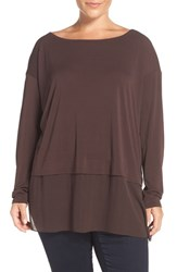 Eileen Fisher Plus Size Women's Sheer Hem Silk Jersey Bateau Neck Tunic Clove
