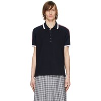 Thom Browne Navy Raglan Sleeve Polo