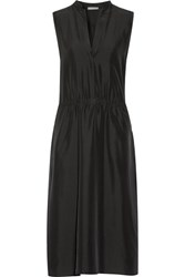 Vince Ruched Silk Crepe De Chine Midi Dress Black