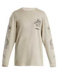 Mhi Stencil Dragon Logo Embroidered Cotton Sweatshirt Grey