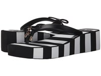 Kate Spade Rhett Black Rubber Black White Stripe Print Women's Shoes