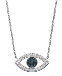 Macy's Blue And White Diamond Evil Eye Pendant Necklace In Sterling Silver 1 4 Ct. T.W.