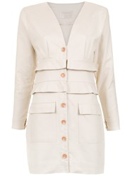 Lilly Sarti Buttoned Dress Nude And Neutrals