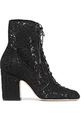 Laurence Dacade Milly Leather Trimmed Lace Ankle Boots Black