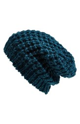 Women's Halogen Waffle Knit Beanie Blue Green Teal Abyss