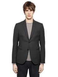 Emporio Armani Textured Virgin Wool Jacket Dark Grey