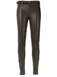 Gloria Coelho Skinny Leather Pants Women Leather Elastodiene Polyamide G Brown