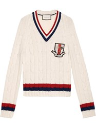 Gucci Wool Cable Knit Sweater With Crest Men Wool L White