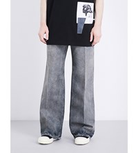 Rick Owens Drkshdw Faded Flared Wide Leg Jeans Light Blue