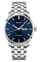 Mido Belluna Ii Stainless Steel Strap Watch Silver Blue Silver