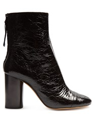 Isabel Marant Grover Crinkle Patent Leather Ankle Boots Black