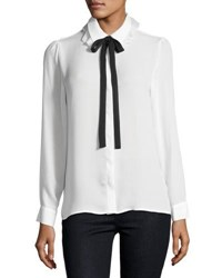 Nanette Nanette Lepore Long Sleeve Double Collar Shirt White