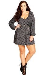 Plus Size Women's City Chic Belted Mono Print Romper