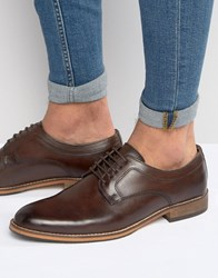 Asos Lace Up Derby Shoes In Brown Leather With Natural Sole Brown